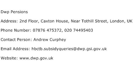 Dwp Pensions Address Contact Number