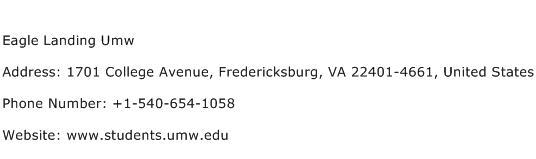 Eagle Landing Umw Address Contact Number