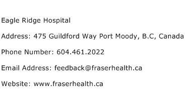Eagle Ridge Hospital Address Contact Number