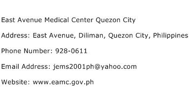 East Avenue Medical Center Quezon City Address Contact Number