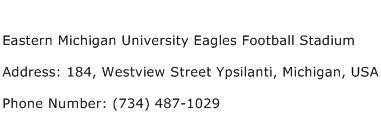 Eastern Michigan University Eagles Football Stadium Address Contact Number