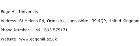 Edge Hill University Address Contact Number