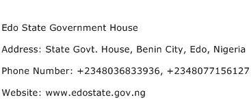 Edo State Government House Address Contact Number