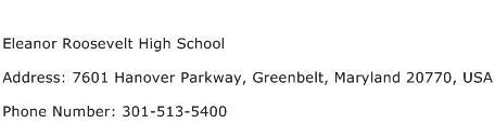 Eleanor Roosevelt High School Address Contact Number
