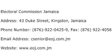 Electoral Commission Jamaica Address Contact Number