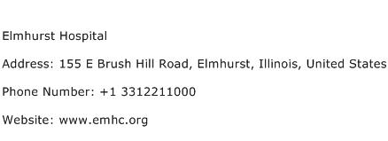 Elmhurst Hospital Address Contact Number