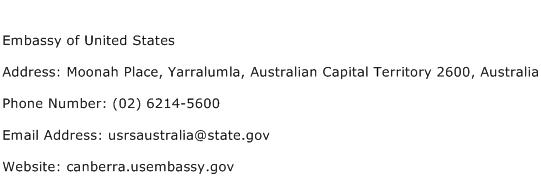 Embassy of United States Address Contact Number