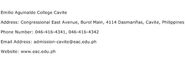 Emilio Aguinaldo College Cavite Address Contact Number
