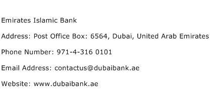Emirates Islamic Bank Address Contact Number