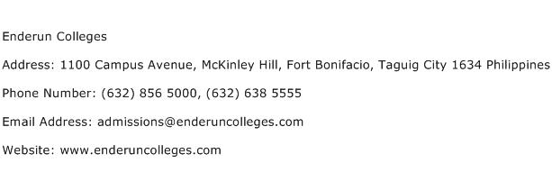 Enderun Colleges Address Contact Number