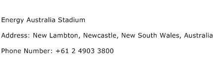 Energy Australia Stadium Address Contact Number