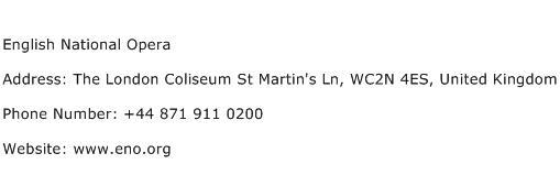 English National Opera Address Contact Number