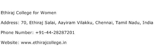 Ethiraj College for Women Address Contact Number
