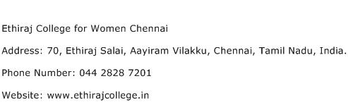 Ethiraj College for Women Chennai Address Contact Number