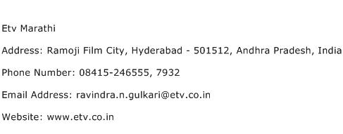 Etv Marathi Address Contact Number