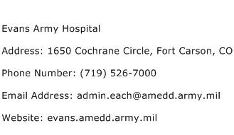 Evans Army Hospital Address Contact Number
