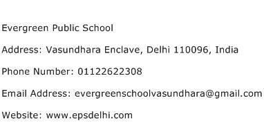 Evergreen Public School Address Contact Number