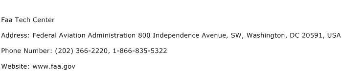 Faa Tech Center Address Contact Number