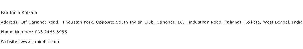 Fab India Kolkata Address Contact Number