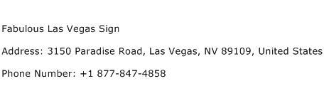 Fabulous Las Vegas Sign Address Contact Number