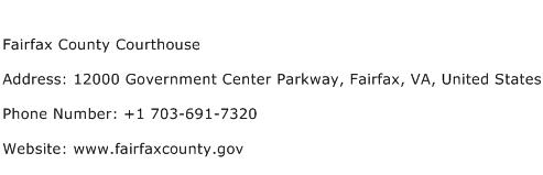 Fairfax County Courthouse Address Contact Number