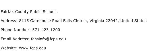 Fairfax County Public Schools Address Contact Number