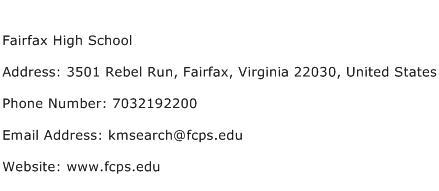 Fairfax High School Address Contact Number