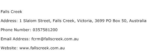 Falls Creek Address Contact Number