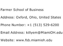 Farmer School of Business Address Contact Number