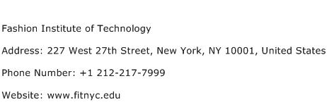 Fashion Institute of Technology Address Contact Number