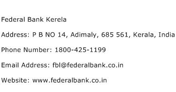Federal Bank Kerela Address Contact Number