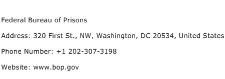 Federal Bureau of Prisons Address Contact Number