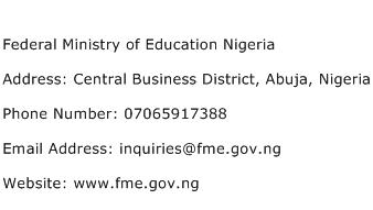 Federal Ministry of Education Nigeria Address Contact Number
