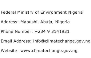 Federal Ministry of Environment Nigeria Address Contact Number