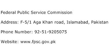 Federal Public Service Commission Address Contact Number