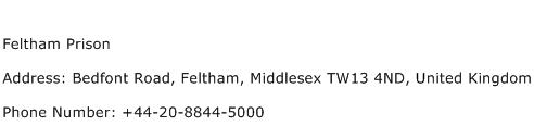 Feltham Prison Address Contact Number
