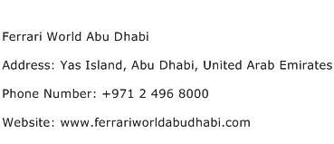 Ferrari World Abu Dhabi Address Contact Number