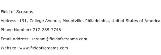 Field of Screams Address Contact Number