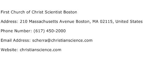 First Church of Christ Scientist Boston Address Contact Number