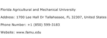 Florida Agricultural and Mechanical University Address Contact Number