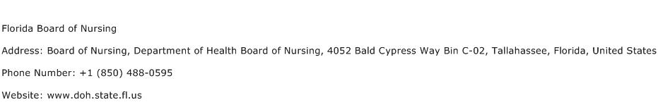 Florida Board of Nursing Address Contact Number