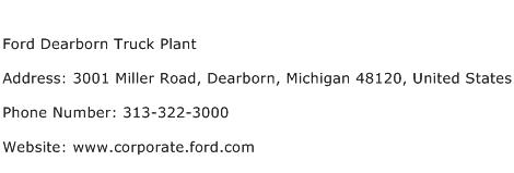 Ford Dearborn Truck Plant Address Contact Number