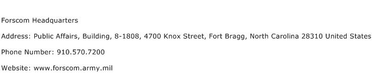 Forscom Headquarters Address Contact Number
