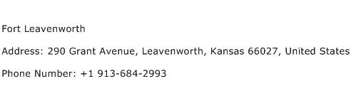 Fort Leavenworth Address Contact Number