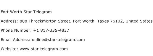 Fort Worth Star Telegram Address Contact Number