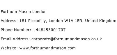 Fortnum Mason London Address Contact Number