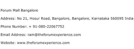 Forum Mall Bangalore Address Contact Number