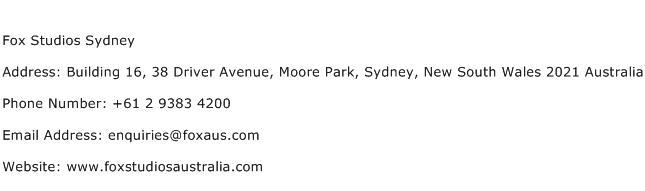 Fox Studios Sydney Address Contact Number