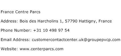 France Centre Parcs Address Contact Number