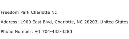 Freedom Park Charlotte Nc Address Contact Number